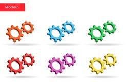 3d被设置的五颜六色的齿轮 市场 库存图片