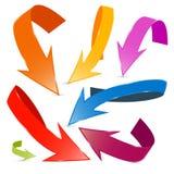 3D被设置的传染媒介五颜六色的箭头 库存照片