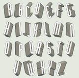 3d被设置的字体,稀薄和高尺寸信件 图库摄影