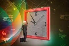 3d观看时钟的人 免版税图库摄影