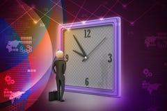 3d观看时钟的人 库存图片
