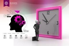3d观看时钟的人 免版税库存图片