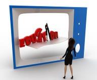 3d观看电视概念的妇女教育规划 库存图片