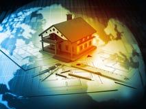 3d计划图纸的房子 免版税库存照片