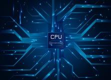 3d计算机模型处理器白色 CPU芯片与处理器的电子线路板 也corel凹道例证向量 皇族释放例证