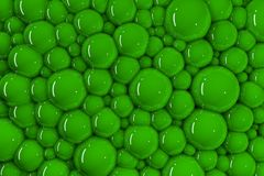 3d许多绿色发光的泡影 皇族释放例证