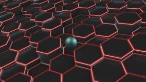3D许多黑六角形和蓝色球,球形背景的例证  事务、财富和繁荣,compl想法  向量例证