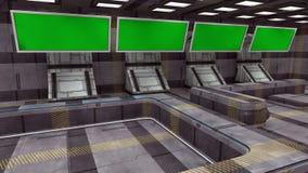 未来派3d绿色屏幕 免版税库存照片
