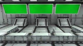 未来派3d绿色屏幕 免版税图库摄影