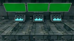 未来派3d绿色屏幕 免版税库存图片