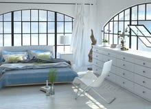 3D设计了有被成拱形的窗口的平静的卧室 库存照片