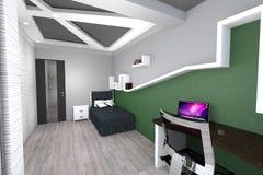 3D设计现代卧室 库存图片