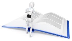 3D读一本巨大的书的有人的特点的机器人 库存例证
