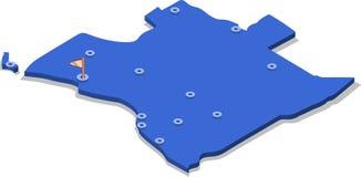 3d贝宁的等轴测图地图有蓝色表面和城市的 库存图片