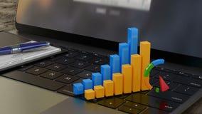 3D财政图表和图,企业成长,公司统计,成功 库存例证