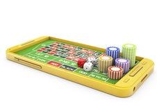 3d赌博娱乐场概念、智能手机和芯片 免版税图库摄影
