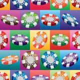 3d赌博娱乐场硬币五颜六色的方形的无缝的样式 库存例证