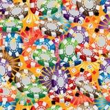 3d赌博娱乐场硬币光芒无缝的样式 向量例证