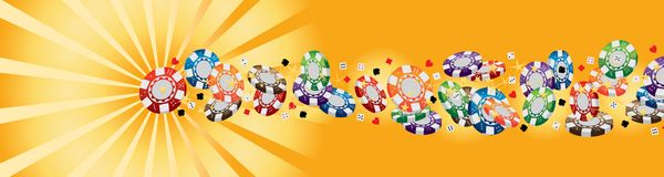 3d赌博娱乐场硬币光芒线横幅CMYK 向量例证
