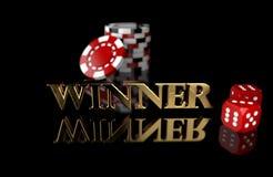 3D赌博黑背景的例证切削并且切成小方块 优胜者文本 向量例证