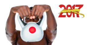 3D赤裸上身的适合年轻人举的水壶响铃的综合图象 图库摄影