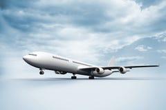 3D起飞白色地面的飞机 免版税库存图片