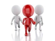 3d跑与一位红色领导的人们 概念领导先锋系列常设片剂 向量例证