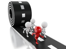 3d跑与在路的一位红色领导的人们 概念领导先锋系列常设片剂 向量例证
