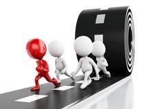 3d跑与在路的一位红色领导的人们 概念领导先锋系列常设片剂 皇族释放例证
