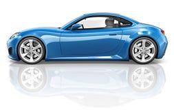 3D跑车车运输例证概念 免版税库存图片