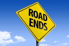 3D路sign_road ends_angle3的例证 库存例证