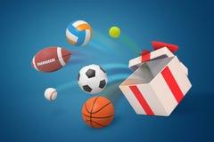 3d跳出在蓝色背景的各种各样的体育球翻译一个大白色礼物盒 库存图片