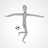 3d踢在白色背景的人足球 库存照片