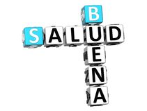 3D身体好在白色背景的Buena Salud纵横填字谜 库存图片