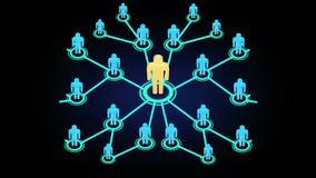 3D迅速地生长入一个社会媒介或社区的人行动图表动画网络有互联网推举和多le的 库存例证