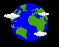 3d返回地球欧亚大陆高照明母亲行星质量翻译空间星形 免版税库存图片