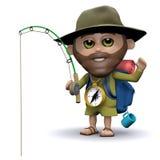 3d远足者去钓鱼 库存例证