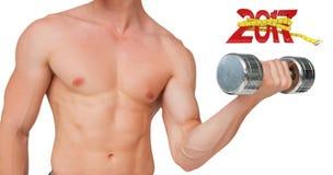 3D适合赤裸上身的人举的哑铃的综合图象 库存图片