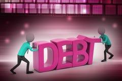 3d避免债务的人尝试 库存图片