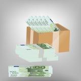 3d配件箱剪报hq包括货币路径回报 免版税库存照片