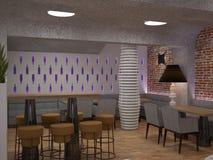 3D酒吧室内设计的形象化 免版税库存照片