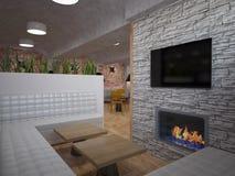 3D酒吧室内设计的形象化 免版税库存图片