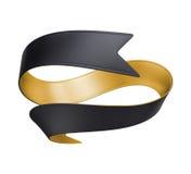 3d金子在白色背景隔绝的黑色丝带 免版税库存照片