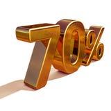 3d金子70百分之七十折扣标志 免版税图库摄影