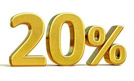 3d金子20百分之二十折扣标志 图库摄影