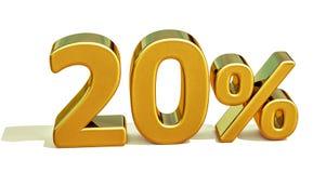 3d金子20百分之二十折扣标志 免版税库存照片