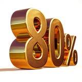 3d金子80百分之八十折扣标志 免版税库存图片