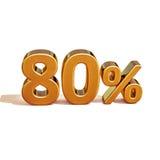 3d金子80百分之八十折扣标志 免版税库存照片