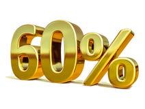 3d金子60百分之六十个折扣标志 免版税库存照片