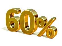3d金子60百分之六十个折扣标志 库存图片